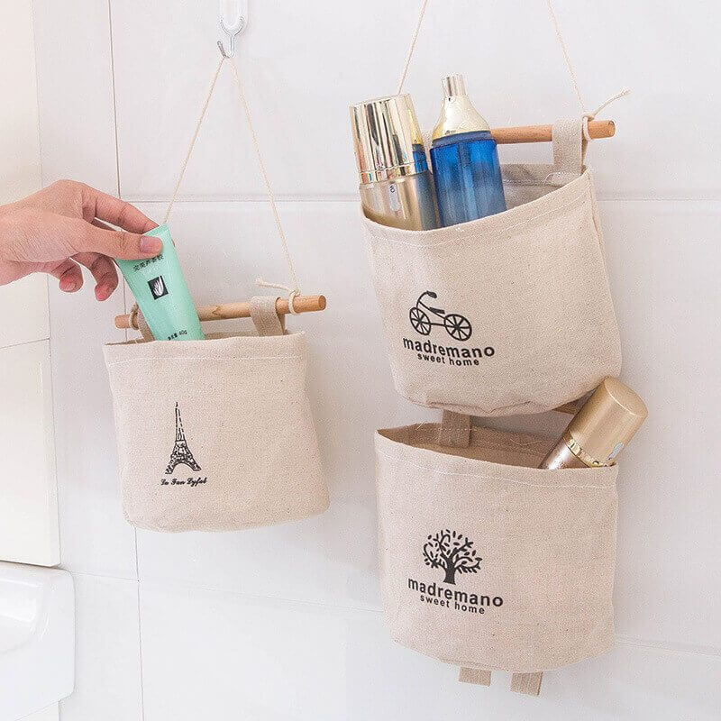 Small canvas bags | Best Small Bathroom Storage Designs & Ideas