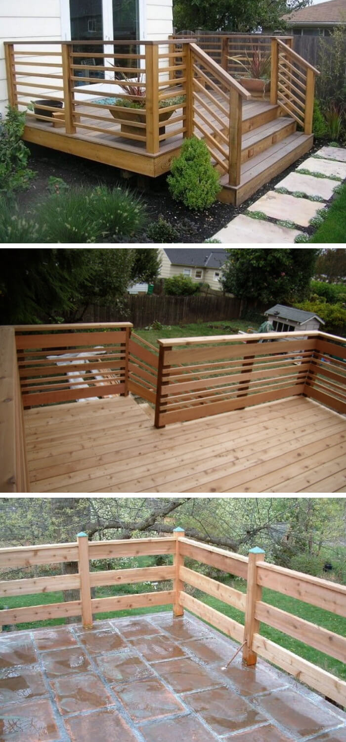 If You Need Your Deck To Look Modern, Then This Deck Idea Is For You. The  Design Of This Thick, Horizontal Railing Includes The Use Of Thick Pieces  Of Wood.