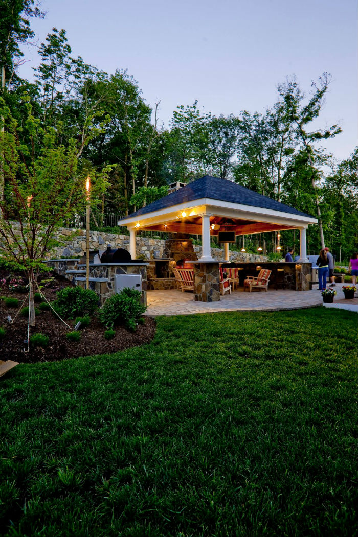 Backyard Pavilion ideas at night
