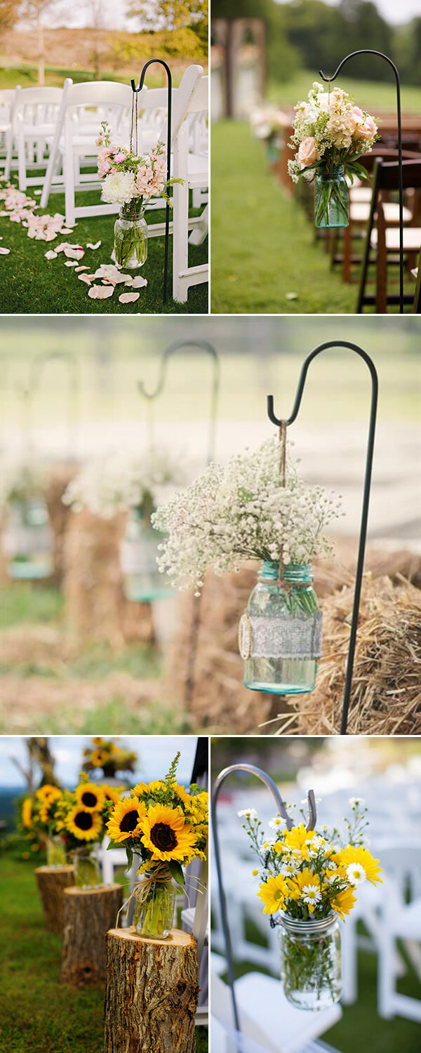 Mason Jar Centerpiece ideas for wedding | Creative & Rustic Backyard Wedding Ideas For Summer & Fall