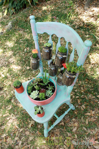 Mason Jars Chair Planter | Creative Upcycled DIY Chair Planter Ideas For Your Garden