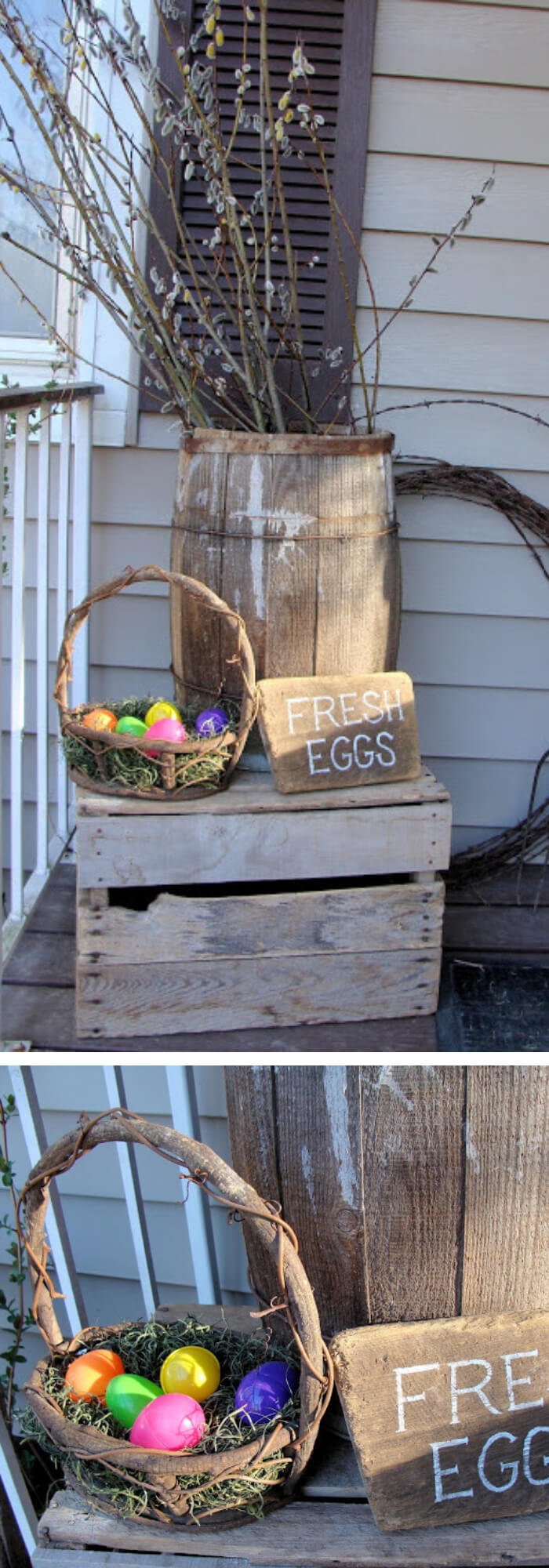 Crate, barrel, pitch fork with a wooden basket | Best Easter Porch Decorating Ideas