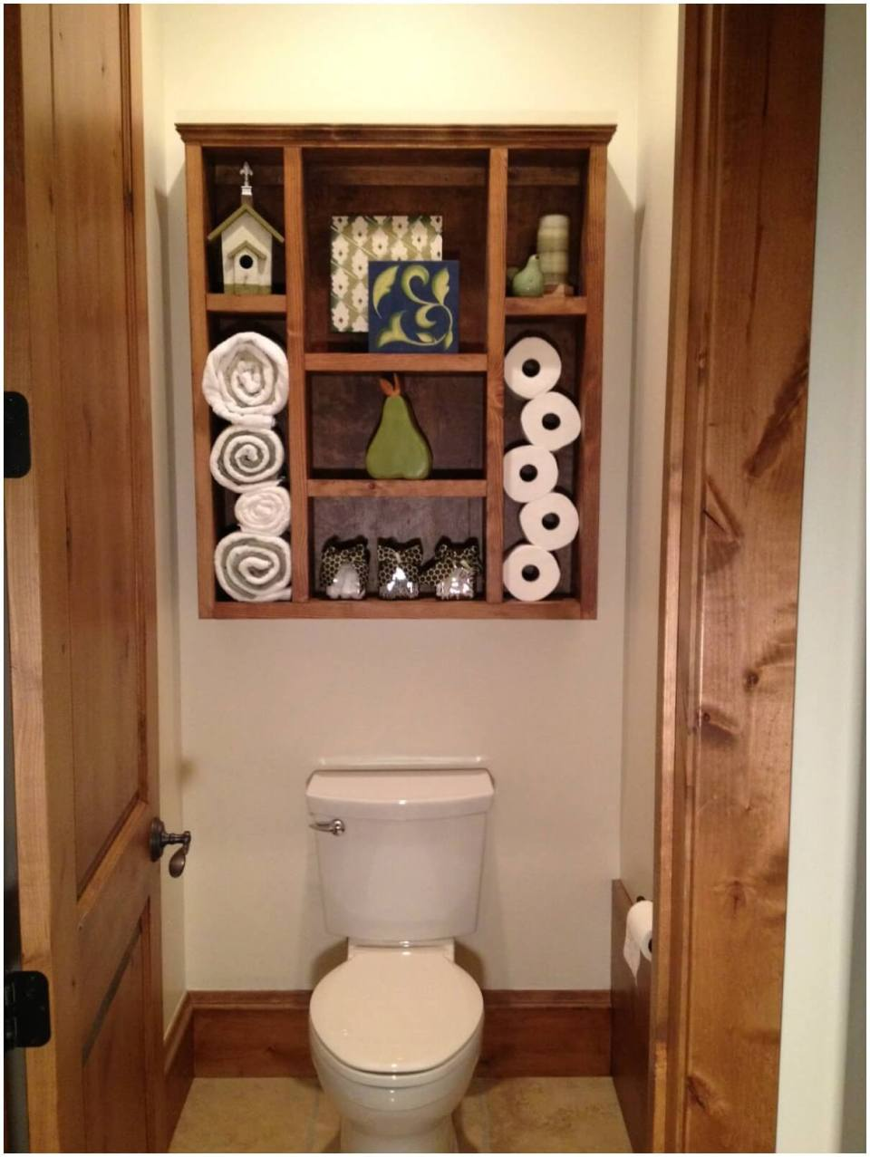Wood Crate Shelf | Best Over the Toilet Storage Ideas for Bathroom