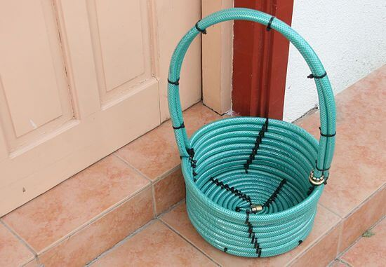 Basket from garden hose | Best DIY Repurposed Garden Tools Ideas | Garden Craft Ideas