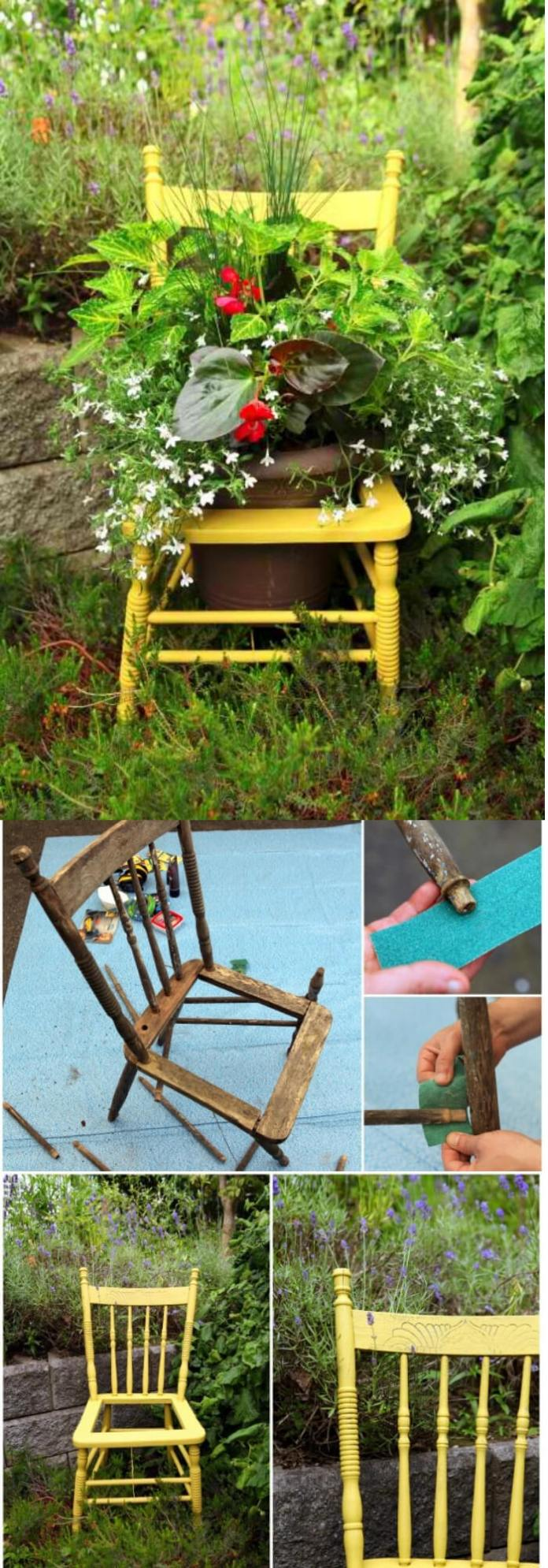 Piece of sunshine | Creative Upcycled DIY Chair Planter Ideas For Your Garden