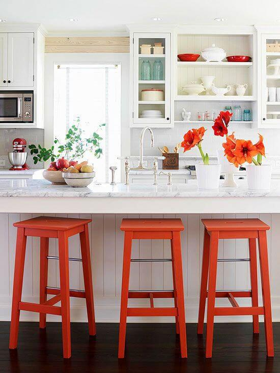 White and Red | Best White Kitchen Cabinet Decor Ideas