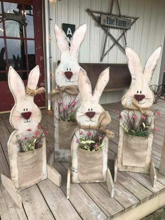 Wood Easter bunny porch | Best Easter Porch Decorating Ideas