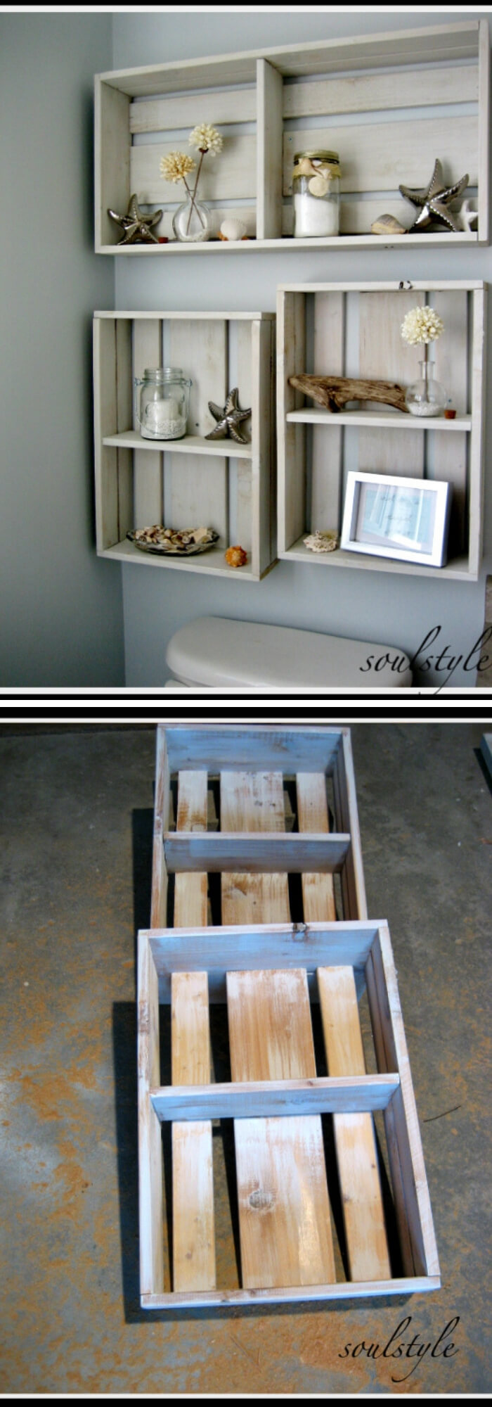 Repurposed Wood Crate | Best Over the Toilet Storage Ideas for Bathroom