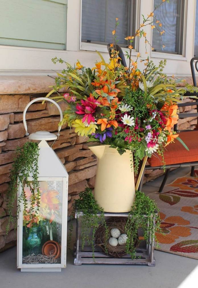 Watering Can and Lantern Floral Displays | Best Easter Porch Decorating Ideas