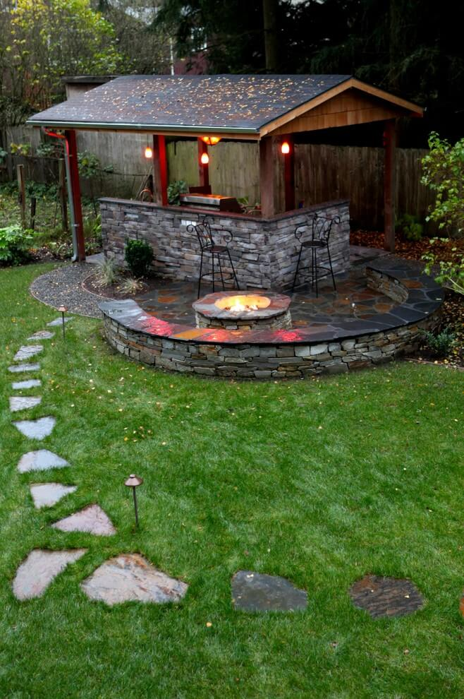 Backyard Pavilion ideas with firepit