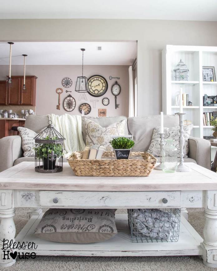 Chippy White Lime Finished Coffee Table   Best Farmhouse Living Room Decor & Design Ideas