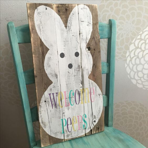 Pallet wood 'Welcome Peeps' Easter Sign | Best Easter Porch Decorating Ideas