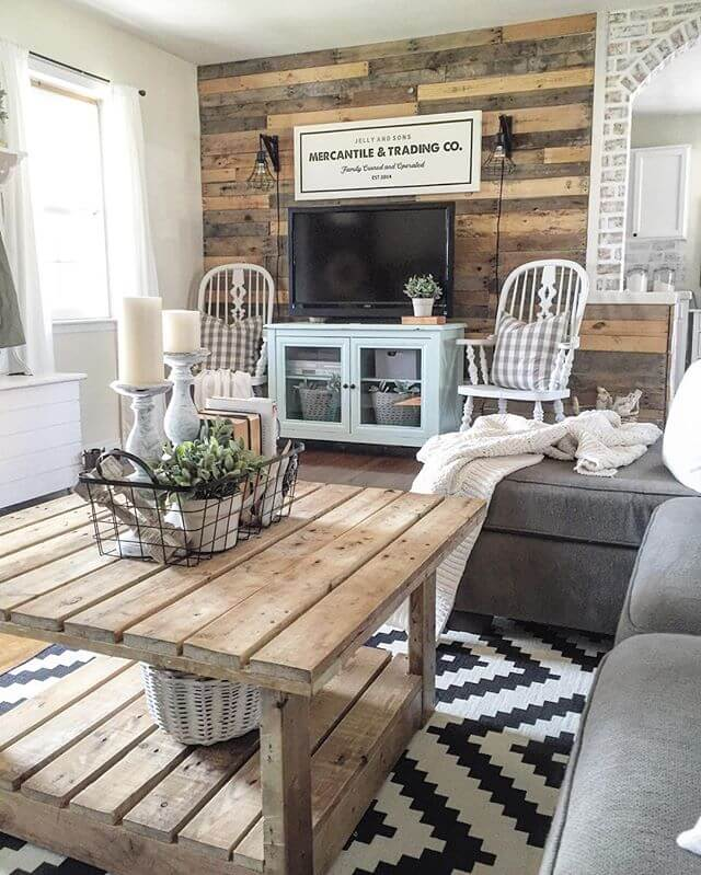 Rustic Accent Wall | Best Farmhouse Living Room Decor & Design Ideas