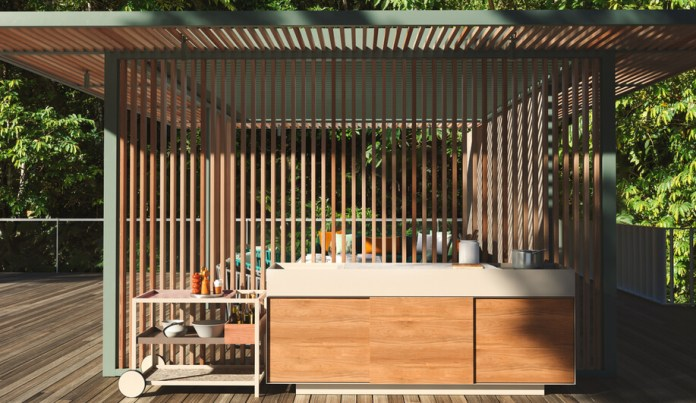 Slatted wood outdoor kitchen | DIY Outdoor Kitchen Ideas (Cheap, Simple, Modern, and Country)