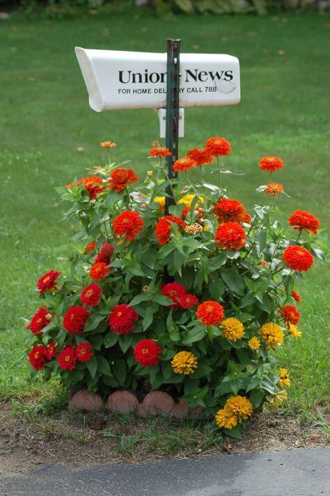 Simple mailbox with flower bed | Best Mailbox Landscaping Ideas