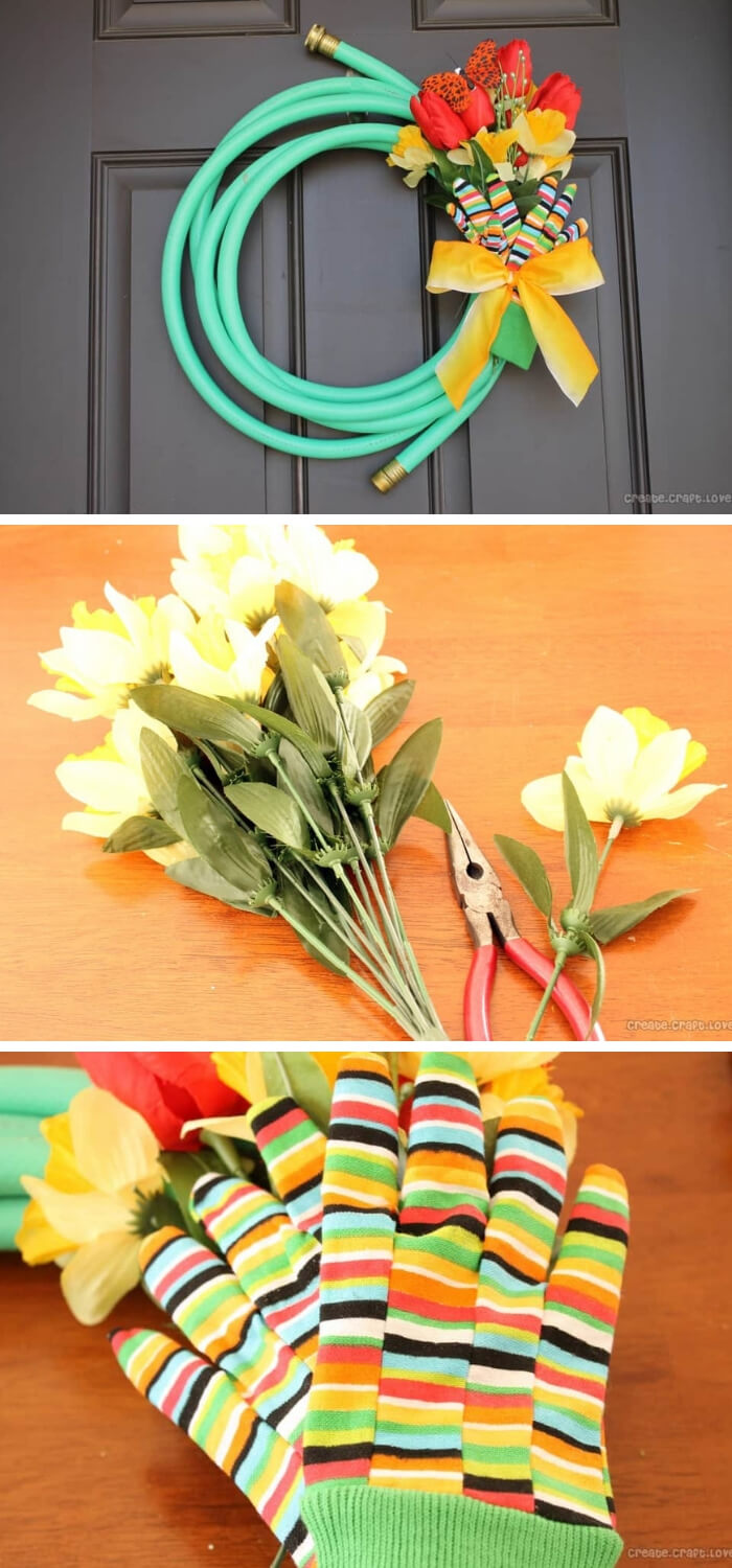 Garden Hose Spring Wreath | Best DIY Repurposed Garden Tools Ideas | Garden Craft Ideas