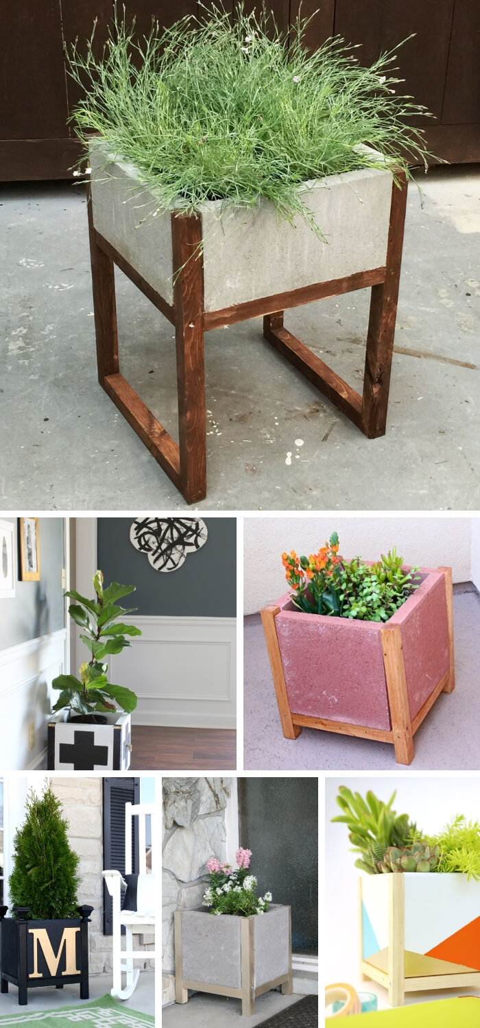 Modern Concrete Wood Planter