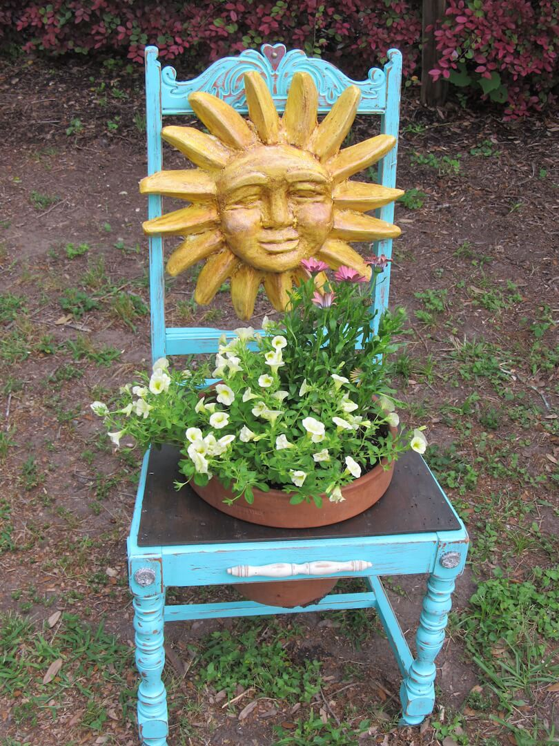 Painted Sunshine Chair | Creative Upcycled DIY Chair Planter Ideas For Your Garden