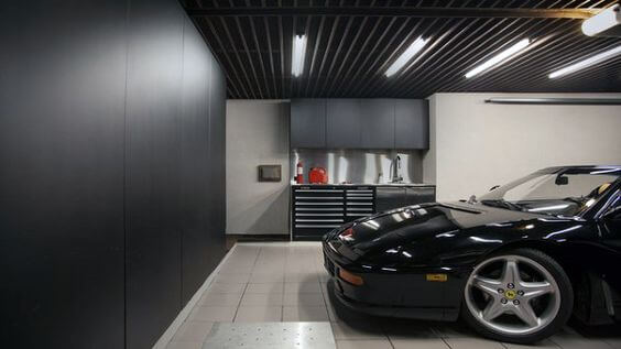 Cool Garage Lighting Layout With Black Ceiling And Cabinets | Best Garage Lighting Designs & Ideas