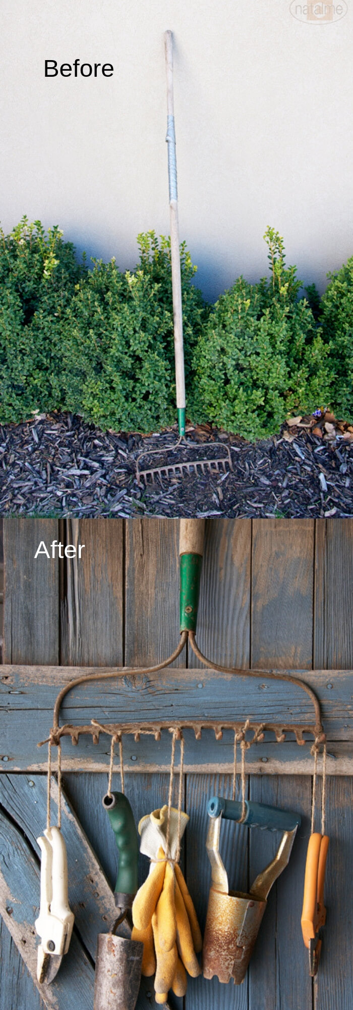 Rake Rack Holder | Best DIY Repurposed Garden Tools Ideas | Garden Craft Ideas