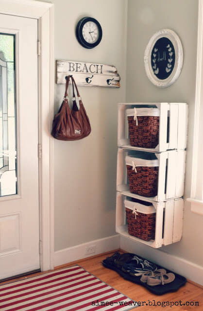 Entryway Shelves | Best DIY Wood Crate Projects & Ideas