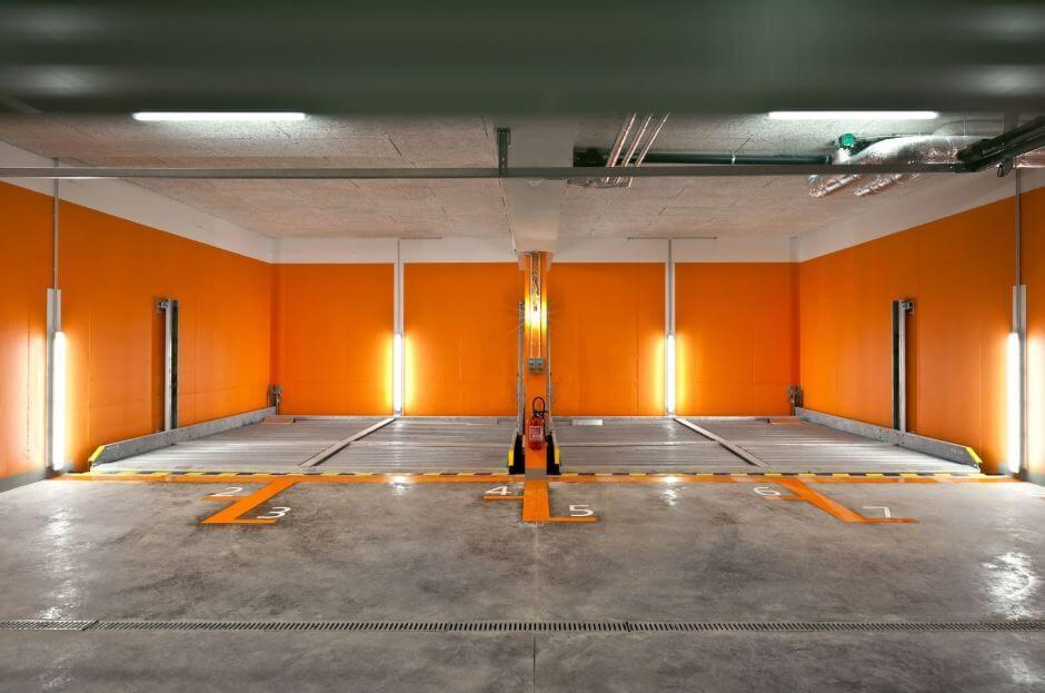 Orange Wall Garage Lighting Idea | Best Garage Lighting Designs & Ideas