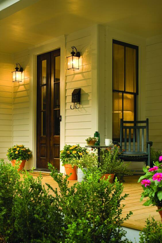 Welcoming front porch | Trending & Vintage Porch Lighting Ideas & Designs | FarmFoodFamily.com