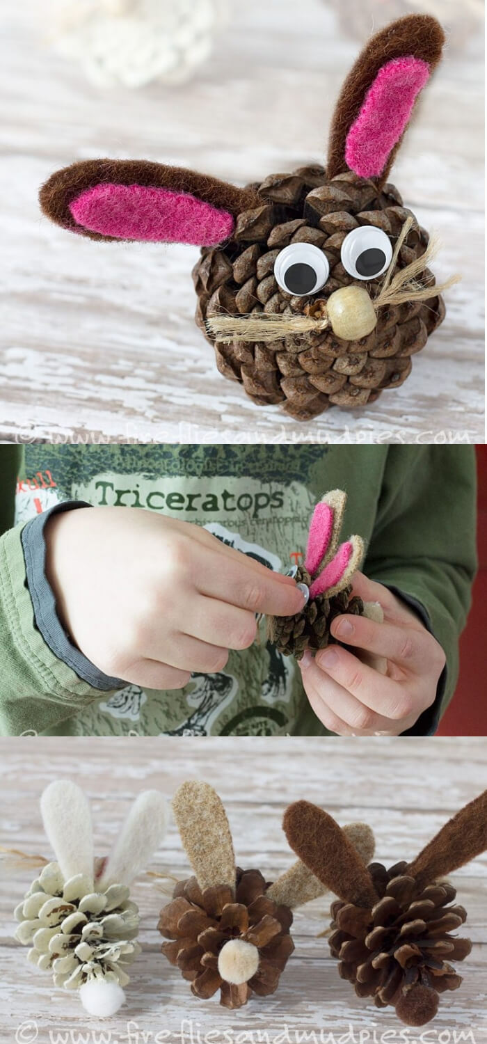 Pine Cone Bunnies | Easy & Fun Easter Crafts For Kids