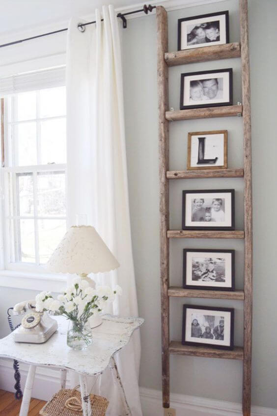 Wooden Ladder Photo Frames | Best Farmhouse Living Room Decor & Design Ideas
