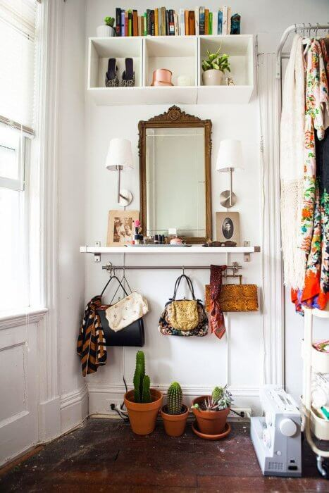 Dressing it up with some plants   Best Small Entryway Decor & Design Ideas   Small Mudroom Ideas   FarmFoodFamily.com