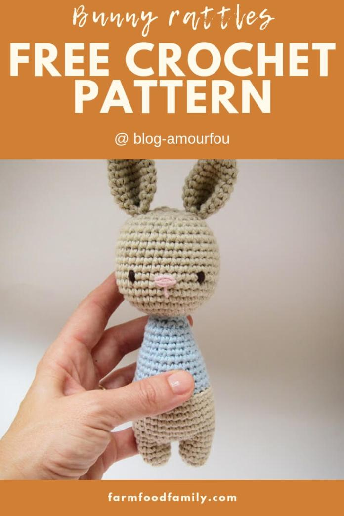 Bunny Rattle with ball | Rattle Free Crochet Patterns For Baby