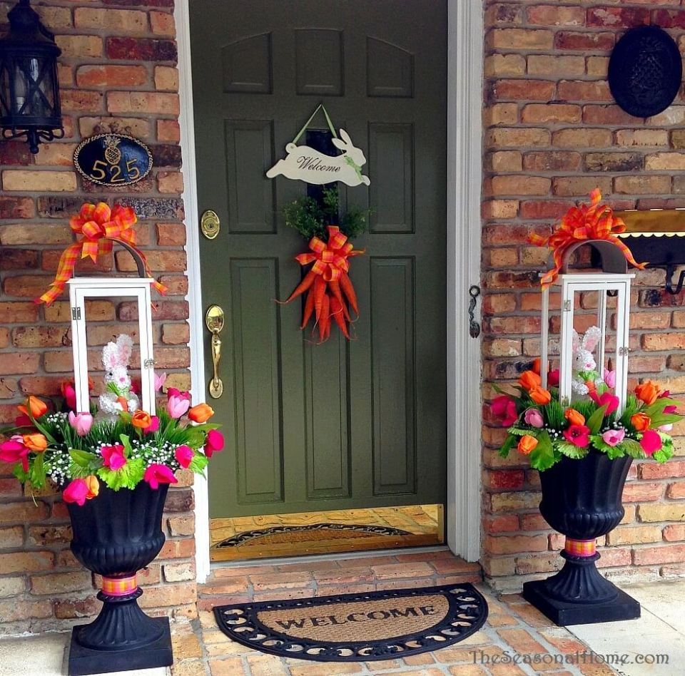 Grapevine wreath | Best Easter Porch Decorating Ideas
