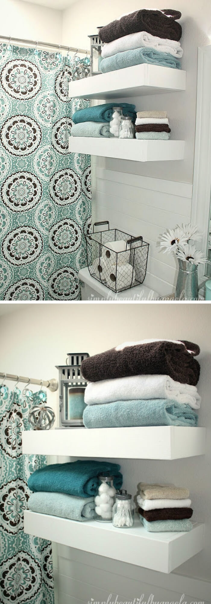 Wooden Floating Shelves | Best Over the Toilet Storage Ideas for Bathroom
