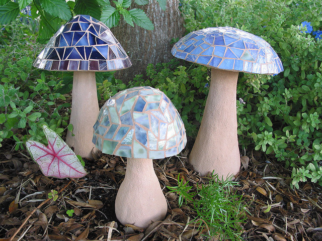 Concrete Mushrooms in Stained Glass