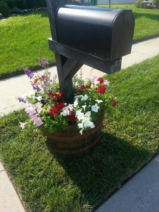 Mailbox in flower pot | Best Mailbox Landscaping Ideas