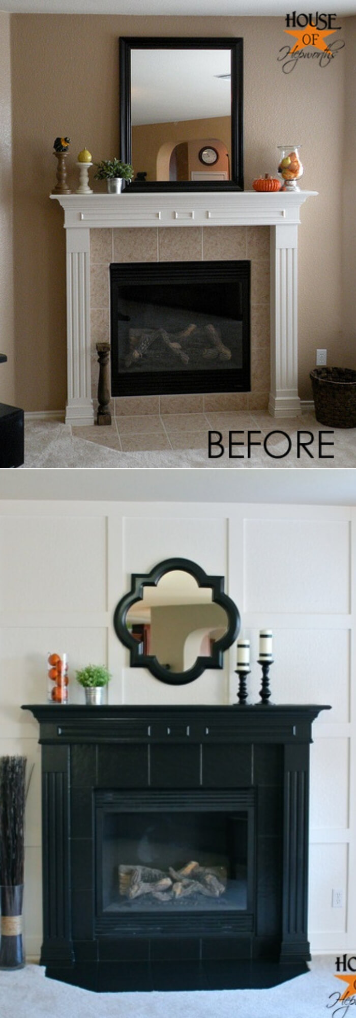 White moulding & black mantel fireplace makeover