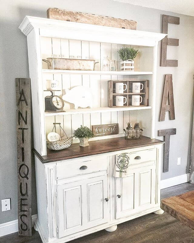 White Hutch and Cupboard (Used country chic chalk paint in vanilla frosting) | Inspiring Farmhouse Kitchen Design & Decor Ideas