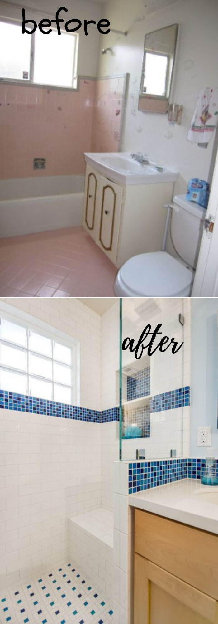 Upgrade a Small Bathroom (Glass block windows, Starphire glass shower panes and bright white and blue tile)