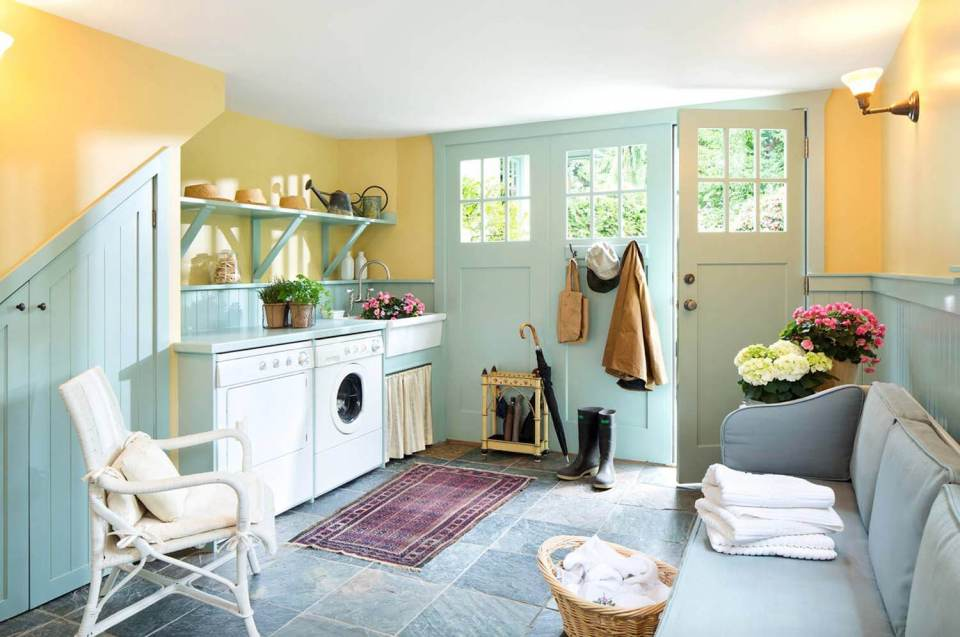 DIY Farmhouse Laundry Room Ideas: Sunny Laundry Room
