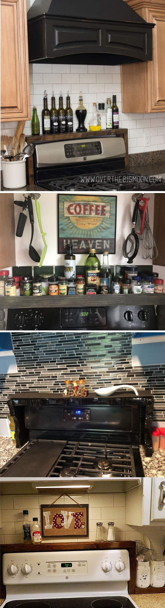 DIY Oil and Vinegar Shelf Over The Stove