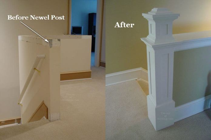 Newel Post on a Half Wall | Amazing Wainscoting Ideas for Your New Home