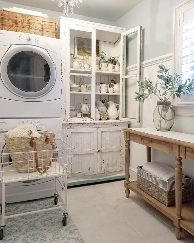 DIY Farmhouse Laundry Room Ideas: 8x10 laundry room makeover with Ironstone and bling