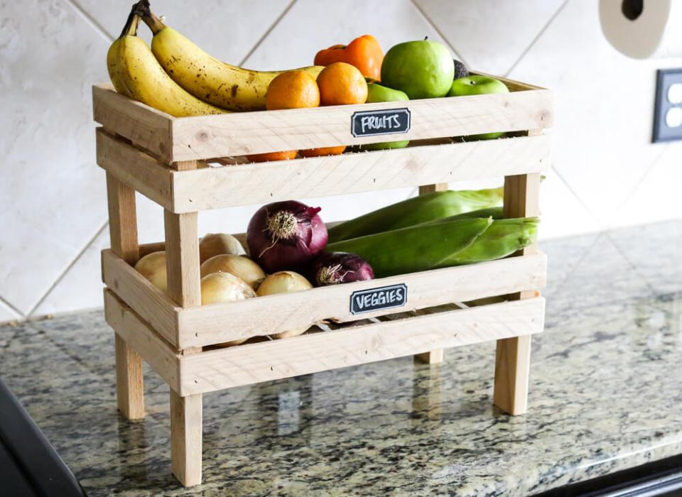 DIY stackable fruit & veggie crate | Best Fruit and Vegetable Storage Ideas For Your Kitchen