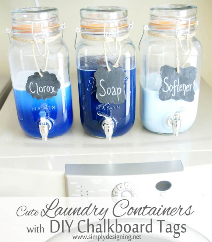 DIY Farmhouse Laundry Room Ideas: Mason Jar Laundry Soap Dispenser with DIY Chalkboard Tags