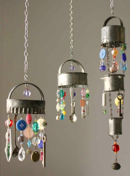 Wind chimes from the things in kitchen cupboard