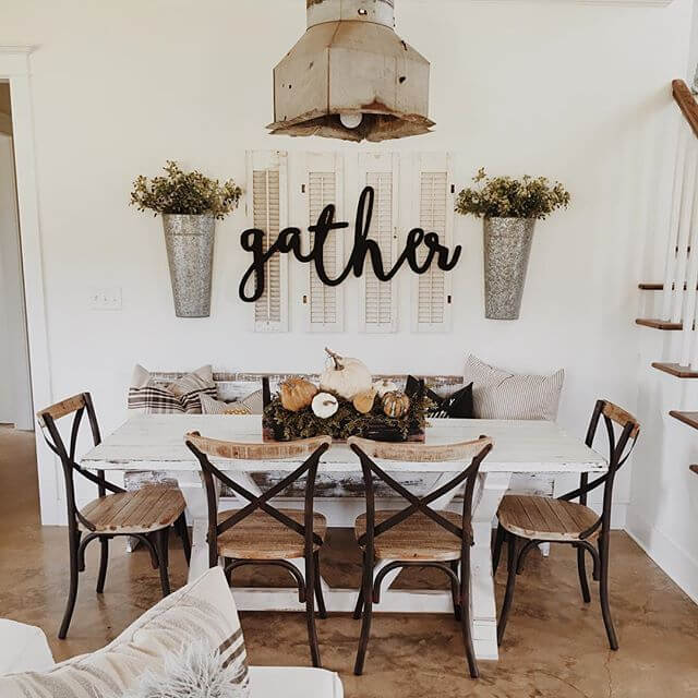A big 'Gather' sign | Stunning Farmhouse Dining Room Design & Decor Ideas