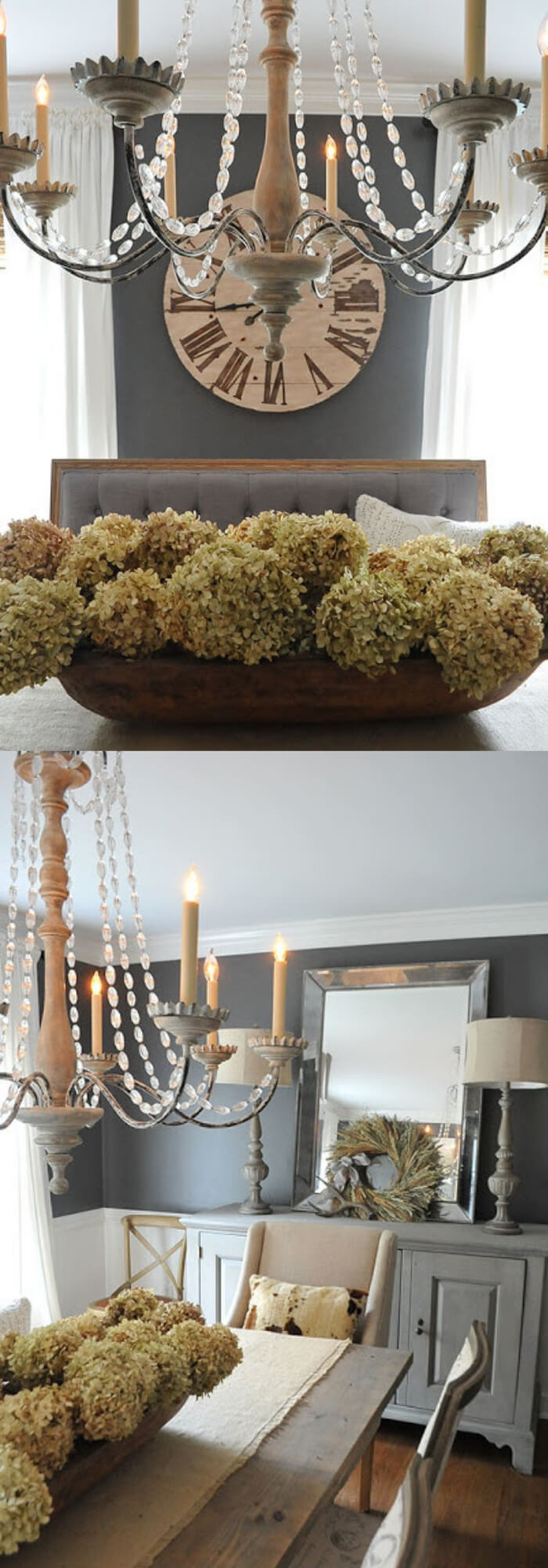 Dried hydrangeas into our antique dough bowl | Stunning Farmhouse Dining Room Design & Decor Ideas