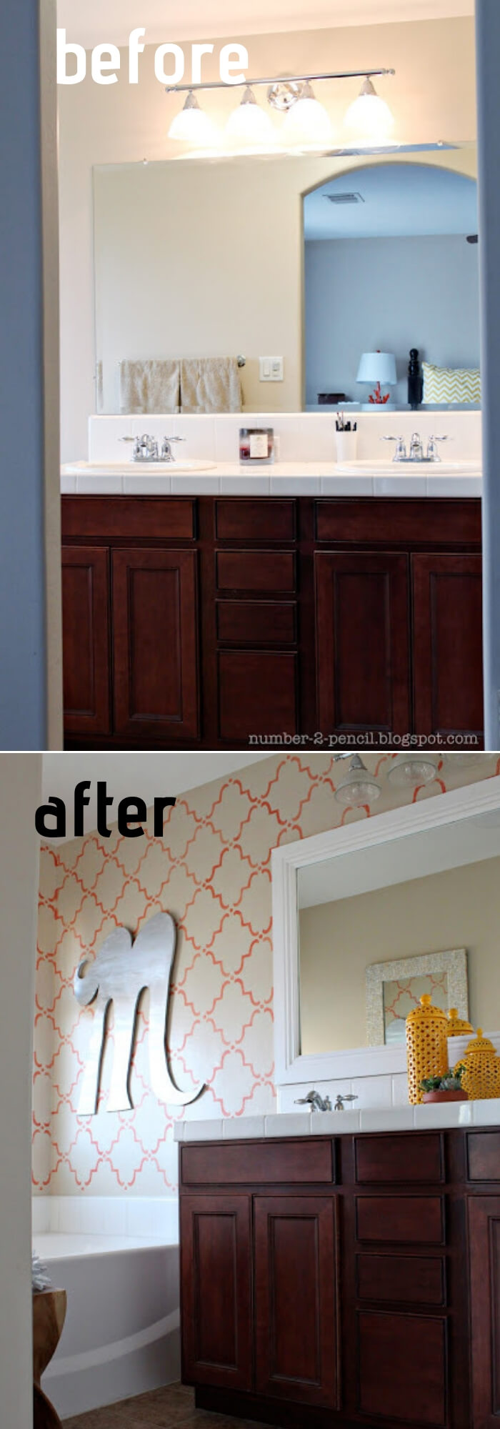 Coral and Yellow Master Bathroom Makeover