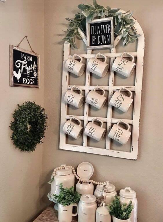 Use the window in my bathroom as a mug display in dining room | Stunning Farmhouse Dining Room Design & Decor Ideas
