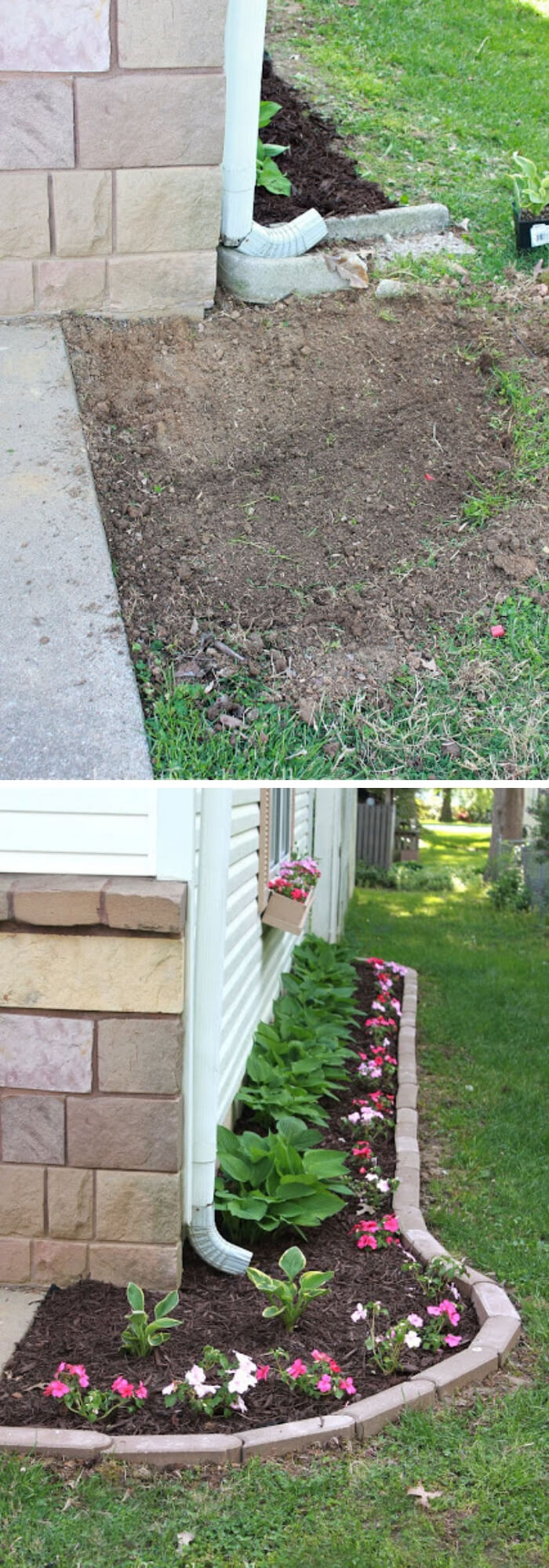 Flower bed under the downspout | Best Downspout landscaping ideas